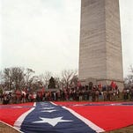Each year crowds gather at the Jefferson Davis obelisk in Fairview, Ky., to celebrate the Confederate president's birthday. The obelisk, 351 feet tall, was dedicated in 1924 by United Daughters of the Confederacy.