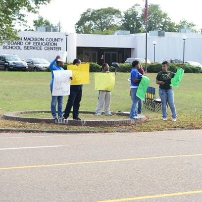 Jackson Central-Merry High School alumni protest outside