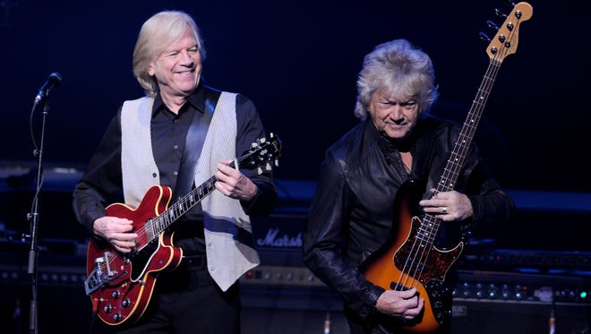 Justin Hayward (left) and John Lodge of the Moody Blues are seen performing in Los Angeles 2013. The band will launch its latest tour in Rancho Mirage.