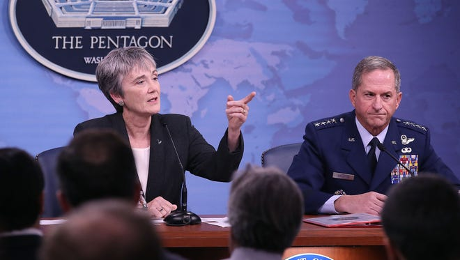 Air Force Secretary Heather Wilson and Gen. David Goldfein, the Air Force chief of staff.