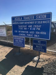 The Aguila Transfer Station is open Thursdays and Fridays.