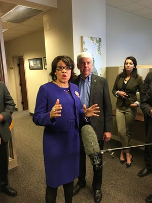 Gov. Rick Snyder, right, met Thursday morning with Flint Mayor Karen Weaver to discuss the city's on-going lead contaminated water crisis two days after declaring a state of emergency in Genesee County.