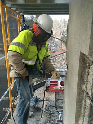 A submitted photo of a construction employee working on improvements to the Verdi bridge as part of a $2.5 million project to reconstruct local bridges.