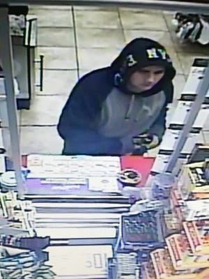 This image taken from surveillance video shows the suspect in the attempted armed robbery of a Phillips 66 gas station in Richmond early Monday.