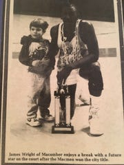James Wright, right, and Michael Graffin celebrate Macomber's city league title in 1989. Port Clinton coach Von Graffin was an assistant at Macomber.