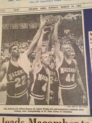 James Wright, right, and Jimmy Jackson, left, celebrate