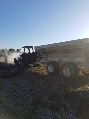 A tractor fire, just off the road in the 2200 block of Stoverstown Road in North Codorus Township, took place at the same time as a house fire just miles away.