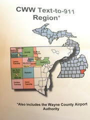 A map illustrates the areas, in color, where text-to-911 is now available in western Wayne County.