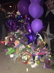 A Prince memorial outside First Avenue in Minneapolis.