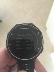 Dr. Maria Bendeck had a time of 6 hours, 8 minutes and 21 seconds at the Boston Marathon.