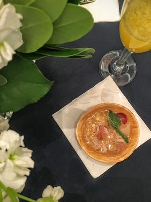 Chef Ryan Rogers served a strawberry gazpacho with country ham at the Atlanta Food and Wine Festival's Sunday Brunch.