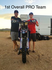 Southern Utah professional dirt bike riders Skyler Howes (left) and Kadin Guard (right) finished first in their class as well as first overall in the  third round of the MRAN Night Series in Jean, Nevada on Saturday.