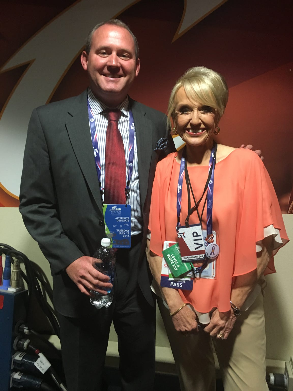 Visiting with former Arizona governor Jan Brewer.