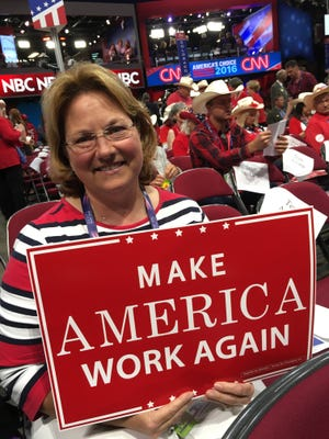 Nancy Neff, a delegate from Sioux Falls. has warmed up to supporting Donald Trump following earlier doubts in the campaign.