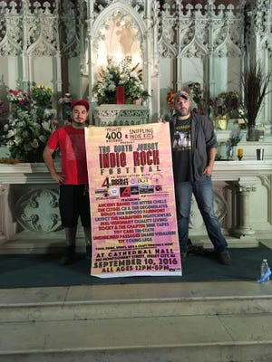 The North Jersey Indie Rock Festival founders Frank DeFranco, left, and Neil Sabatino stand with a banner at Jersey City's Cathedral Hall, a new venue they helped convert from an old church. Raised in East Brunswick, DeFranco is the co-owner of the Sniffling Indie Kids label and a guitarist in NGHTCRWLRS. And Sabatino, who has played in bands based in Bound Brook and Milltown, owns Mint 400 Records and has played in Fairmont for 15 years. The festival takes place Sept. 10 and will feature an appearance by Makin Waves columnist Bob Makin.