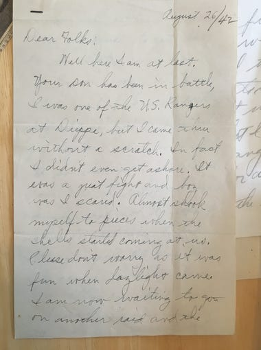 """William """"Babe"""" Brinkley's Aug. 26, 1942 letter home after his first battle as a Ranger at the Raid of Dieppe."""