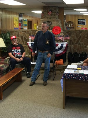Sheriff Robert Shepperd spoke at a county Republican candidate meet-and-greet session Friday.