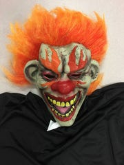 A clown costume, taken into evidence by the Roseville Police Department.