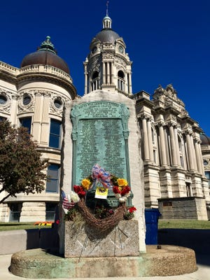 Evansville's World War I memorial sits near the Old Courthouse on the corner of Vine and Fourth streets.