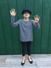 Ella Buss, 8, dressed as a mime.