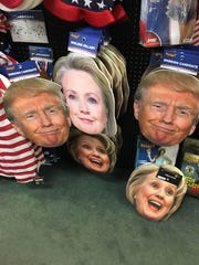 Trump and Clinton costumes on display at the Spirit Halloween store in Visalia.