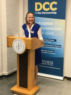 Dutchess Community College President Pamela Edington speaks at an event celebrating the institution's opening of a site at the Family Partnership Center in the City of Poughkeepsie on Tuesday.