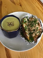 """Crock-Pot sweet potato with """"creamy"""" soup made from broccoli stalks."""