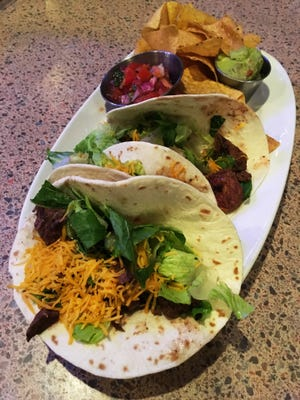 Filet Mignon steak soft tacos from Crave Bar & Food in Mequon.