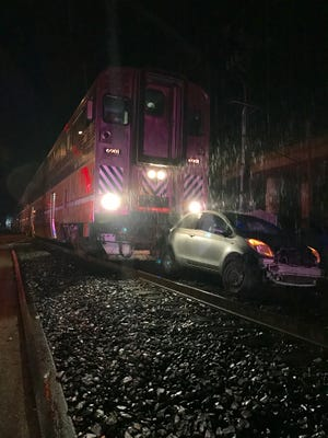 An unoccupied vehicle was struck by a train near the Ventura County Fairgrounds Sunday night.