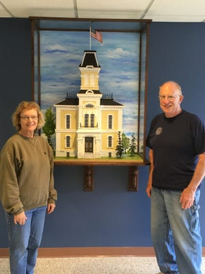 A wooden model of the old Door County Courthouse was built by Dan Austad and painted by his wife, Jean. The model sits in the main lobby of the Door County Government Center, 421 Nebraska St. in Sturgeon Bay.
