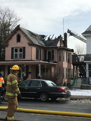 Five fire departments responded Tuesday morning to a fire on the 100 block of West Broad Street in Paulsboro Jan. 10, 2017.
