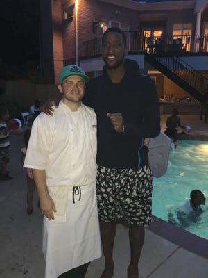 Chef Kevin LaFave (left) with Charlotte Hornets forward Michael Kidd-Gilchrist. LaFave was recently hired to work as Kidd-Gilchrist's personal chef.