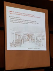 A look at a proposed new floor plan on the first level of the Ridgewood Library.