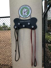Rover Run Dog Park gives visitors the option to leave their pet's leash on a hook outside of the park. There are hooks in both fenced areas for small and big dogs.