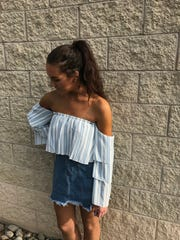A denim skirt. $40, and a striped off the shoulder,