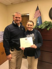 Airline High School student Lauren Head receives the President's Volunteer Service Award.