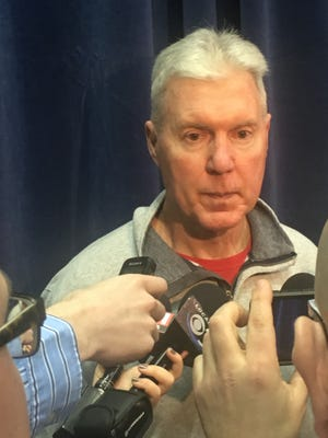 Packers general manager Ted Thompson takes questions at the NFL combine Wednesday, March 1, 2017.