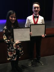 Ibnat Meah, an eighth-grader at Dallastown Area Middle School, and Steven File, an eighth-grader at York Suburban Middle School, were the winners at the junior level of the York County Science and Engineering Fair this year.