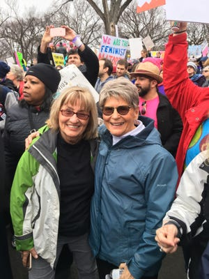"""Hendersonians Joan Hoffman and Lou Mahon, who are part of the group that launched the Justice Coalition of Henderson, attended January's """"Women's March on Washington."""""""