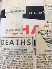 Dr. William K. Hall in his early years of clipping would paste the newspaper items onto the pages of Life magazine. These items are from 1949.
