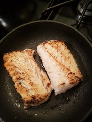 Remove the brown bits from the skillet and use the remaining butterfat to sear the fish on both sides.