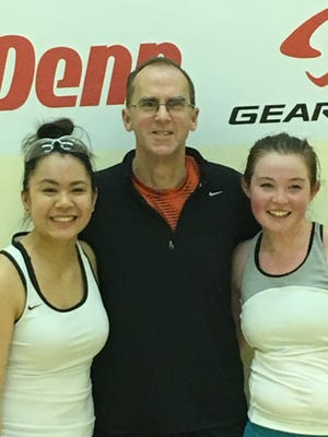 Oregon State racquetball players Maddie Kerzel (right) and Natalie Lorati (left) with coach Rob Durbin.