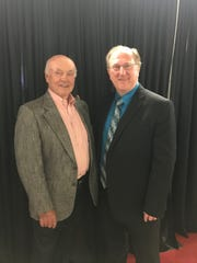 Former Wings broadcaster Bruce Martyn, left, makes his first trip back to the Joe in 20 years. He's pictured with current broadcaster Ken Kal on the right.
