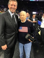 Former Pistons and Palace president Tom Wilson, left,
