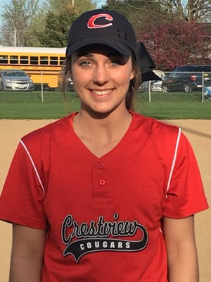 Crestview pitcher Kennedy Hickey threw 11 strikeouts in the Cougars' 8-2 win over Plymouth on Tuesday.
