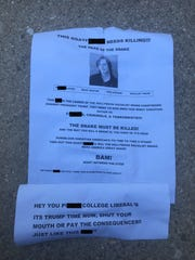 Police are investigating the delivery of fliers that