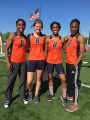 The Blackman girls 4x100 relay team finished first. Pictured (l-r)  are Joelle Patton, Jaclyn Wright, Raquell Killings and Cyera Gordon.