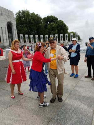 George Caldwell, 90, cuts a rug while visiting the National WWII Memorial during this year's Honor Flight Tallahassee.