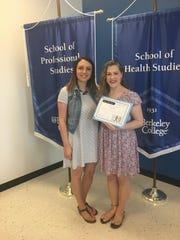 Roxbury High School Guidance Counselor Carissa Barbolini presenting the Caring Student Award to senior Deanna Burns.