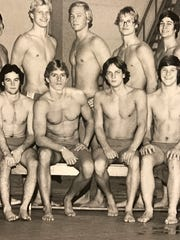A picture of Joe Kemper (front row, second from right) during his time as a diver for Youngstown State, 1973-78.
